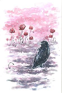 Obrazy - Havran v červenom maku Art Print - 11844222_