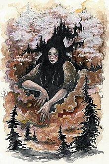 Obrazy - Čarodejnica kúzliaca jesenné hmly Art Print - 11844325_