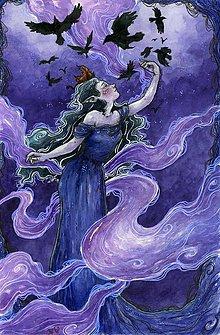 Obrazy - Elfské hmly s vánkom fialiek na krídlach havranov Art Print - 11844356_