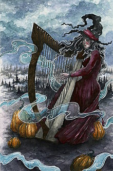 Obrazy - Čarodejnica hrajúca na harfe do hmiel a hôr Art Print - 11844399_