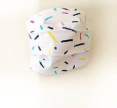 Rúška - Bavlnené rúško biele s farebnými šmuhami - 11840791_