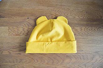 Detské čiapky - Čiapočka s uškami - žltá - 11848121_