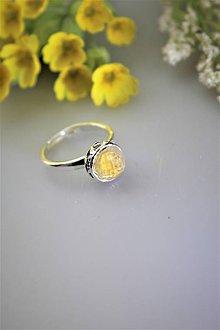 Prstene - citrín prsteň strieborný - nastaviteľná veľkosť - 11847530_
