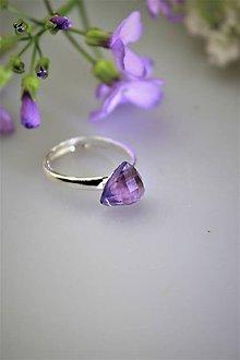 Prstene - ametyst prsteň strieborný - nastaviteľná veľkosť - 11847904_