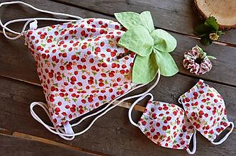 Detské tašky - Detský batoh + 2 rúška + gumka do vlasov - 11848431_