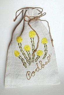 """Úžitkový textil - ľanové vrecko na bylinky """"Podbeľ"""" - 11845302_"""
