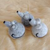 Dekorácie - Plstená myška guľatá - 11846328_