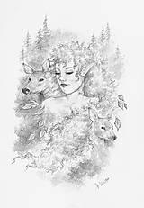 Kresby - Elfka a vznešení srnčí sprievodcovia z lesov Art Print - 11847563_