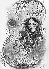 Kresby - Víla a jarno-svieže točité konáriky Art Print - 11847808_