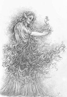 Kresby - Elfka zvlnená s kvetmi Art Print - 11847347_