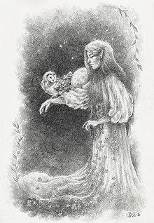 Kresby - Sovička svieti elfke na mesiac i na cestu Art Print - 11847514_