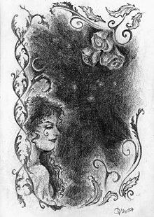 Kresby - Víla medzi rozkvitnutými ružami Art Print - 11847871_