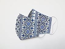 Textilné rúško na tvár dvojvrstvové MODRÉ FOLK PÁSY
