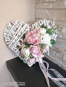 Dekorácie - Srdce bielo ružové s mašlou 30cm - 11844498_