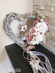Dekorácie - Vintage srdce-  staroružová, ivory 25cm - 11844501_