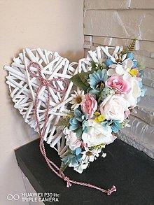 Dekorácie - Srdce pink, tyrkys a ivory s mašlou 30cm - 11844502_