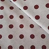 Textil - Červená bodka na béžovej - 11846084_