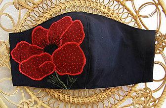 """Rúška - rúško """"červený mak"""" na čiernom - 11850145_"""