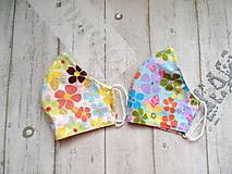 Rúška - Bavlnené rúška s drôtikom... Flowers - 11850667_