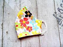 Rúška - Bavlnené rúška s drôtikom... Flowers - 11850677_