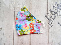 Rúška - Bavlnené rúška s drôtikom... Flowers - 11850682_
