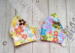 Rúška - Bavlnené rúška s drôtikom... Flowers - 11850715_