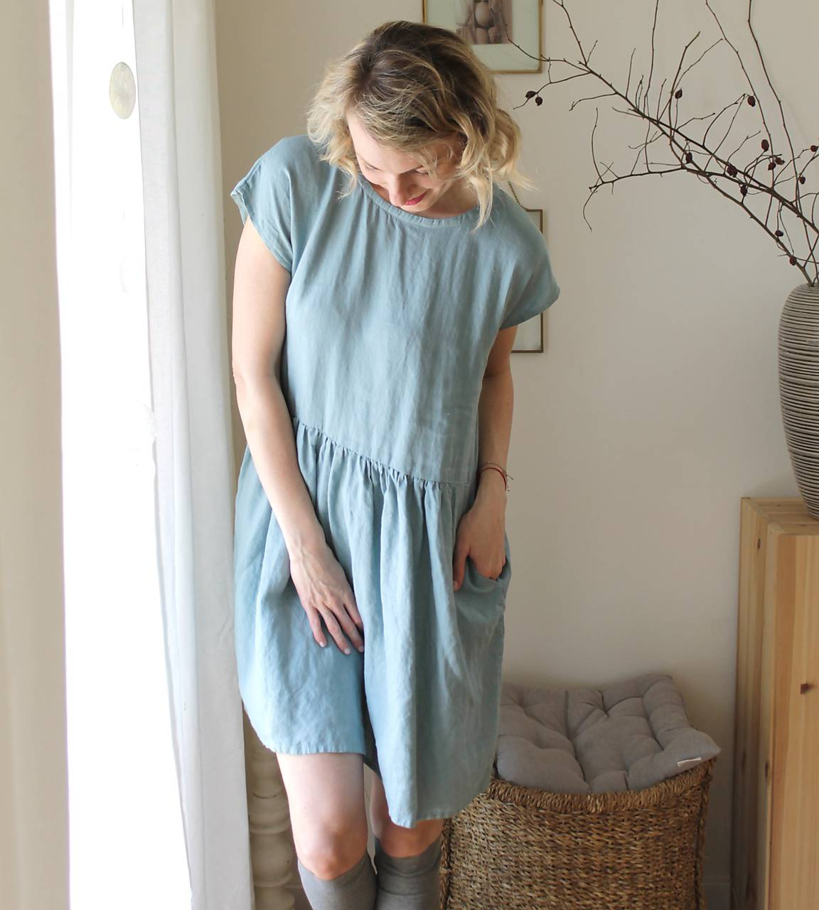 Šaty - . šaty šedomodré . len extra jemný - 11850950_