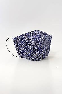 Rúška - Modré dámske kvetinové rúško z bavlny a ľanu, dvojité - 11851231_