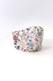 """Rúška - Dámske dvojité kvetinové rúško z ľanu a bavlny """"Manila"""" - 11851421_"""