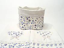 Bavlnené utierky modrotlač s krajkou + košík na pečivo