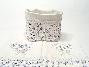 Úžitkový textil - Bavlnené utierky modrotlač s krajkou + košík na pečivo - 11851683_