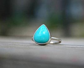 Prstene - Strieborný prsteň s prírodným tyrkysom - 11850968_