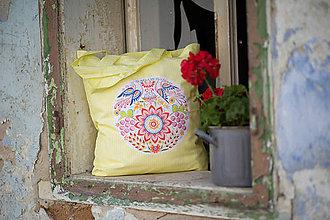 Nákupné tašky - taška žltá s Vajnorským ľudovým ornamemtom (Bratislava) - 11848841_