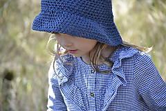 Detské čiapky - Detský klobúčik z ľanu a bavlny...modrý - 11850996_