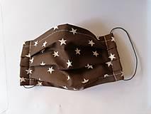 Rúška - Letné rúška na tvár 1vrstvove - tmavohnedé s hviezdami - 11851800_