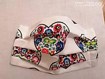 Rúška - Rúška 2 vrstvové s drôtikom - biely folklór srdce - 11852752_