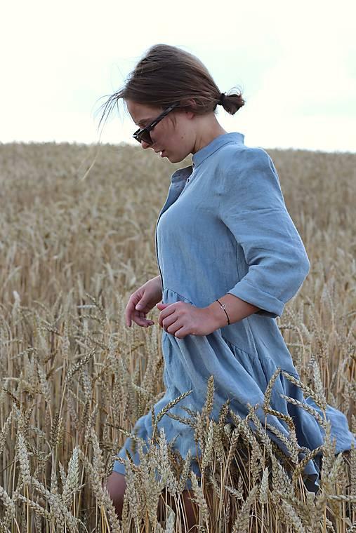 Šaty - HORTENZIA šaty modrošedé - 11853704_