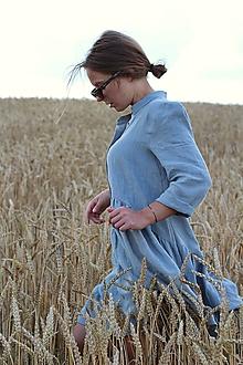 Šaty - Hortenzia košeľové šaty modrošedé - 11853704_