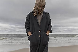 Kabáty - Baltik ľanový plášť čierny - 11854069_