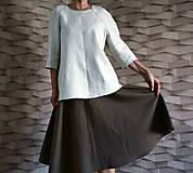 Sukne - Ľanová hnedá sukňa - 11856262_