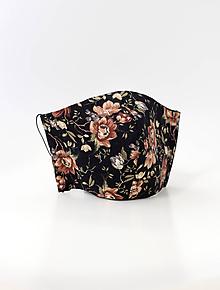 Rúška - Čierne dámske kvetinové dvojité rúško z ľanu a bavlny - 11856776_