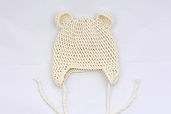 Detské čiapky - Smotanová ušianka macko EXTRA FINE - 11854980_
