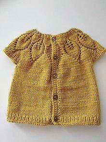 Detské oblečenie - Horčicová vesta 100% merino - 11854236_