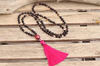 Náhrdelníky - Náhrdelník so strapcom a minerálmi onyx, láva a achát - 11854133_