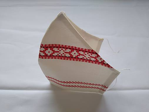 Dizajnové rúško folk červené I. tvarované dvojvrstvové
