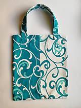 Bavlnená taška na nákup - Biela & Tyrkys