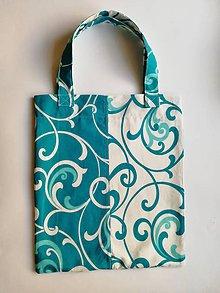 Nákupné tašky - Bavlnená taška na nákup - Biela & Tyrkys - 11861447_