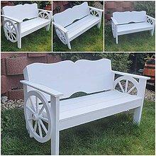 Nábytok - Drevená lavička a kolesa biela - 11858320_
