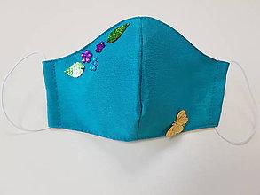 Rúška - Saténové rúško - luxury design s flitrovými aplikáciami (Tyrkysové) - 11860462_
