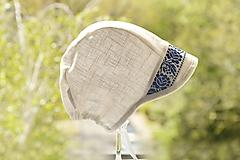 Detské čiapky - Baby čepiec 100% ľan folk - 11858575_